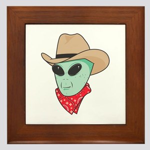Cowboy Alien Framed Tile