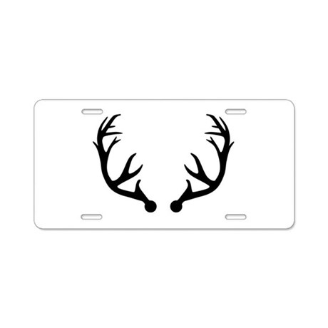 Deer Antlers Aluminum License Plate By Teedepartment