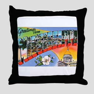 Mississippi Greetings Throw Pillow