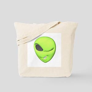 Funny Winking Alien Tote Bag