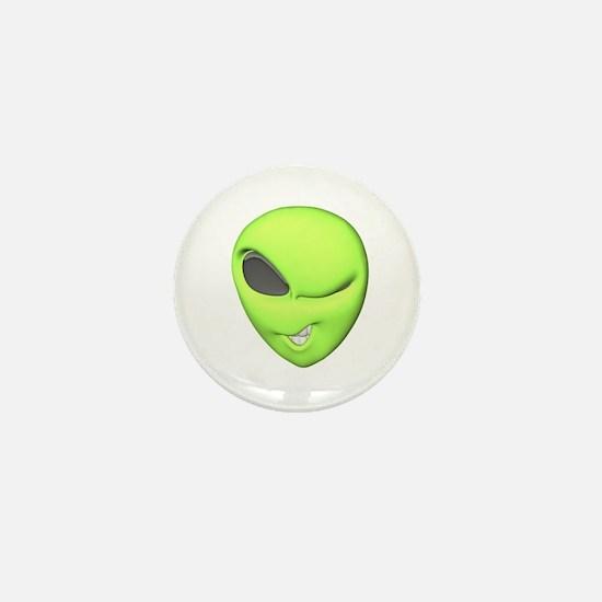 Funny Winking Alien Mini Button