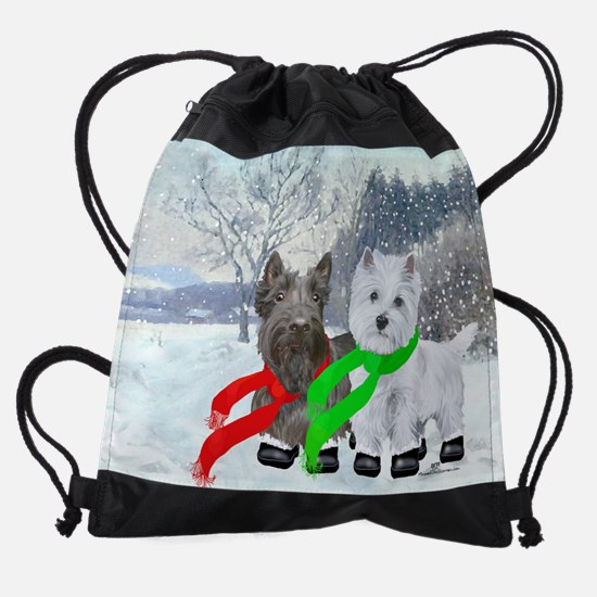Westie Scottie Wintertime Snow Drawstring Bag
