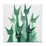 Alpha Whimsical Cats Tile Coaster