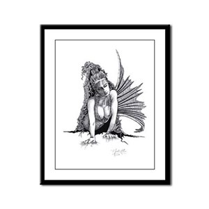 Mermaid Front view Framed Panel Print