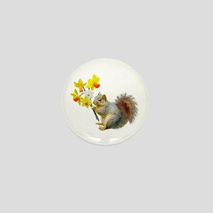 Squirrel Daffodils Mini Button