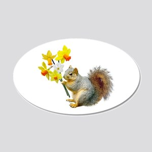 Squirrel Daffodils 20x12 Oval Wall Decal