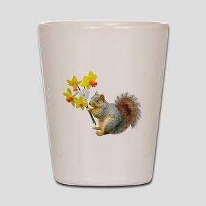 Squirrel Daffodils Shot Glass