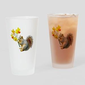 Squirrel Daffodils Drinking Glass