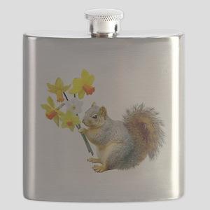 Squirrel Daffodils Flask