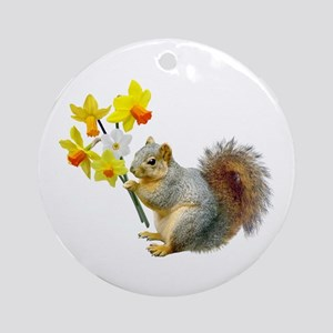 Squirrel Daffodils Ornament (Round)