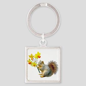Squirrel Daffodils Square Keychain