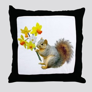 Squirrel Daffodils Throw Pillow