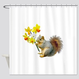 Squirrel Daffodils Shower Curtain