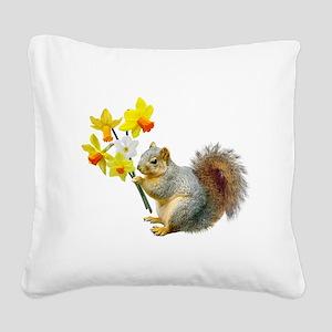 Squirrel Daffodils Square Canvas Pillow