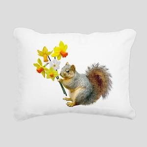 Squirrel Daffodils Rectangular Canvas Pillow