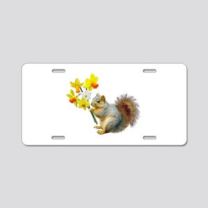 Squirrel Daffodils Aluminum License Plate