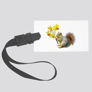 Squirrel Daffodils Large Luggage Tag