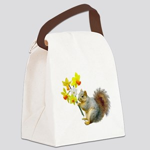 Squirrel Daffodils Canvas Lunch Bag