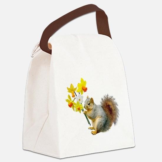 Squirrel Daffodils Canvas Lunch Bag