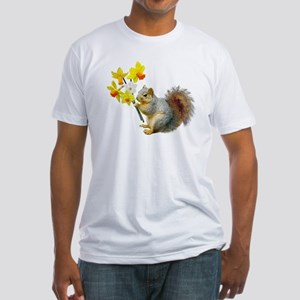 Squirrel Daffodils Fitted T-Shirt