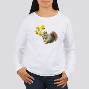 Squirrel Daffodils Women's Long Sleeve T-Shirt
