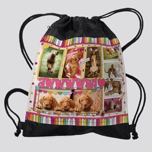 Vizsla Puppies Scrapbook Drawstring Bag