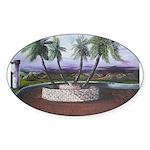 Blue Moon Palms Oval Sticker