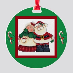 Mr And Mrs Country Santa Round Ornament