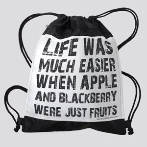 Life was much easier with apple and Drawstring Bag