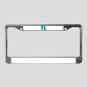 B Initial with fleur License Plate Frame