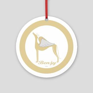 BENJY ANGEL GREY ROUND ORNAMENT