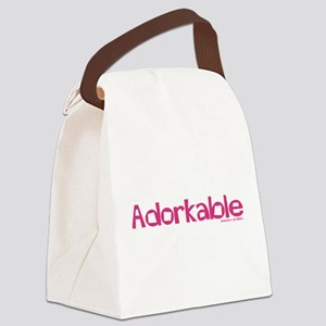 Adorkable Magenta Text Canvas Lunch Bag