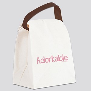 Adorkable Pink Text Canvas Lunch Bag