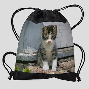 Gershwin the sad lonesome kitty cat Drawstring Bag