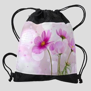 Pink Cosmos Flower Drawstring Bag