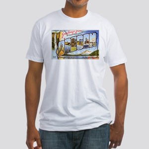 Oregon Greetings (Front) Fitted T-Shirt