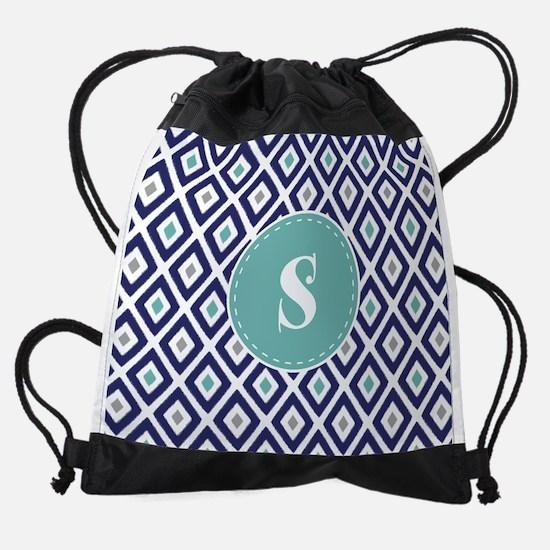 Navy Blue and Aqua Ikat Diamond Pat Drawstring Bag