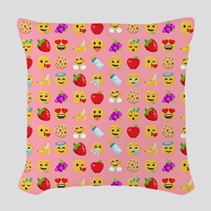Baby Food Emoji Faces Pink Woven Throw Pillow