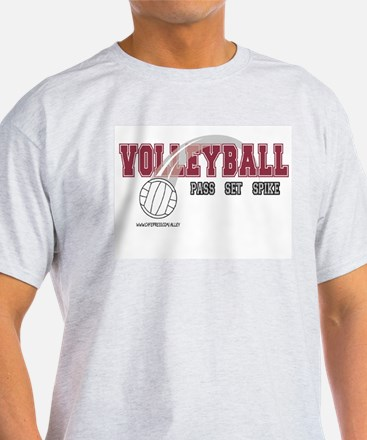 Volleyball: Pass Set Spike Ash Grey T-Shirt