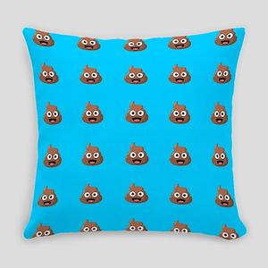 Poop Emoji Blue Everyday Pillow