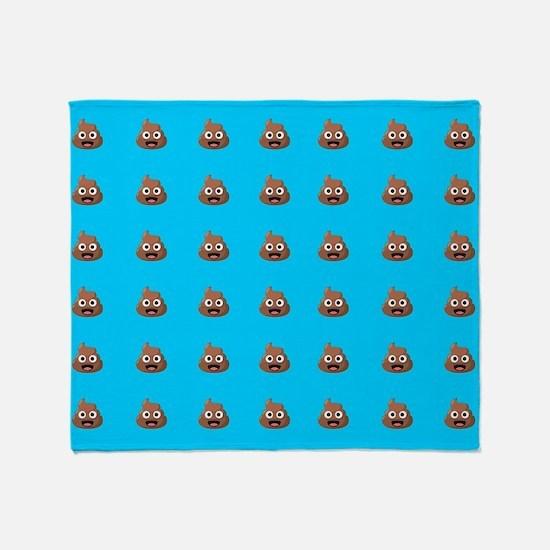 Poop Emoji Blue Throw Blanket