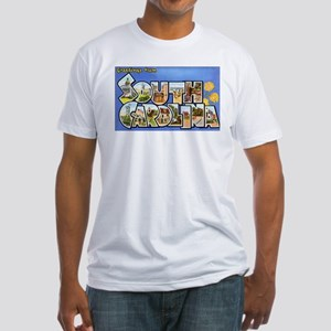 South Carolina Greetings (Front) Fitted T-Shirt