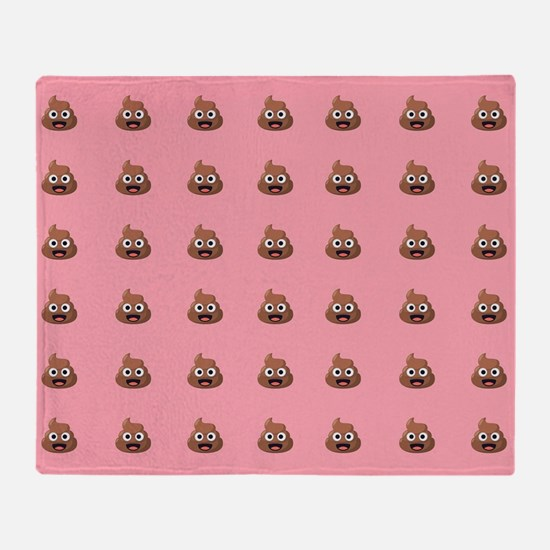 Poop Emoji Pink Throw Blanket