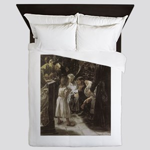 Jesus in the Temple as a Child Queen Duvet