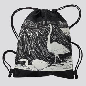 Black and White Cranes by Mighty Xe Drawstring Bag