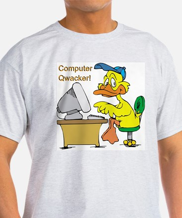 COMPUTER QWACKER Ash Grey T-Shirt