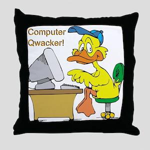 COMPUTER QWACKER Throw Pillow