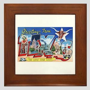 Texas Greetings Framed Tile