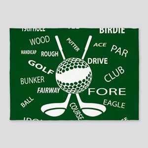 Golf Golfer Ball and club 5'x7'Area Rug