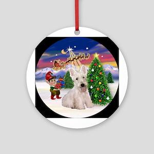 Santa's Take Off & White Scotty Ornament (Round)
